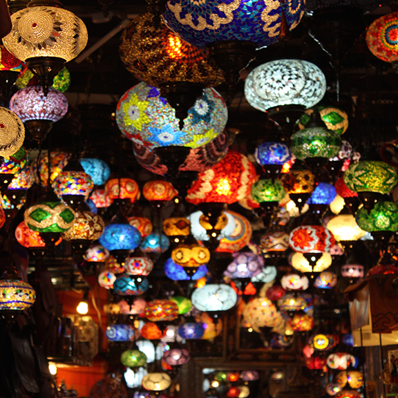 Hanging lanterns in market