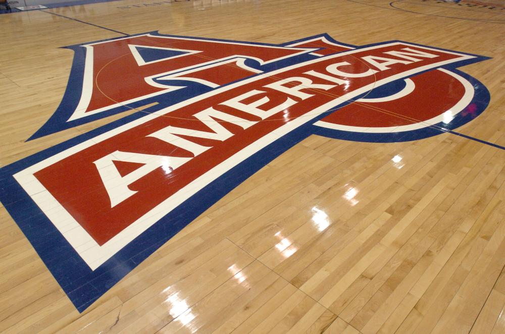 AU logo on basketball court